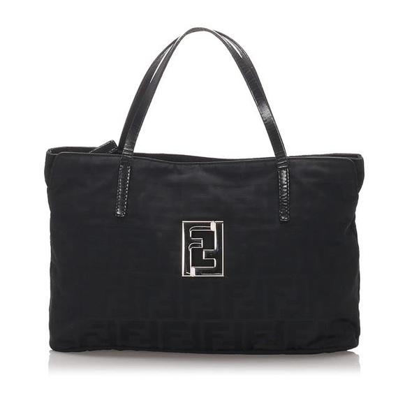 Fendi bag zucca nylon black leather tote